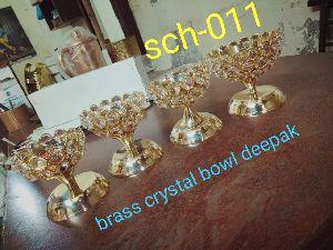 Brass Bowl Crystal Diya