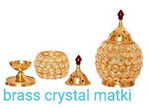 Brass Matki Crystal Diya