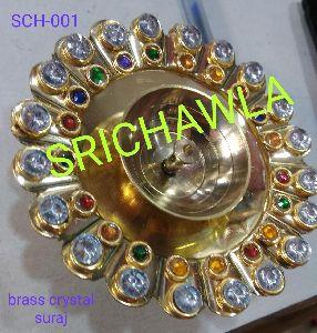 Brass Suraj Crystal Diya