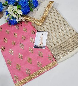 Net Dupatta Unstitched Suit