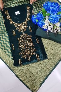 Velvet Suit with Banarasi Dupatta Dress Material