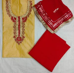 Zardozi Hand Embroidery Unstitched Suit