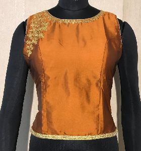 Golden Cut Sleeves Blouse