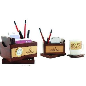 Table Clock Pen Stand With Coaster Plate