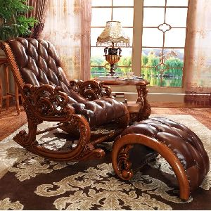 Brown Wooden Chair with Leg Rest