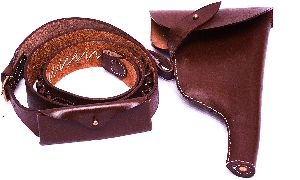 Leather Pistol Holster & Ammo Bandolier Belt