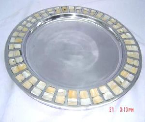 Mother of Pearl Border Round Platter