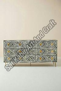Bone Inlay 6 Drawer Chest
