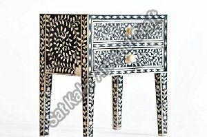 Bone Inlay Bedside Table