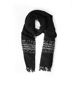 Black Base Border White Lambswool Shawl