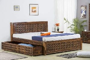 Brass and Sheesham Wood Double Bed