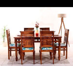 Marwari Design Sheesham Wood Dining Table Set