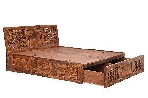 Sheesham Wood Drawer Double Bed
