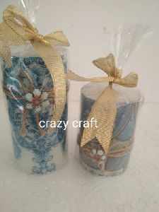 Decoupage Wax Candle