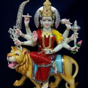 Multicolor Marble Durga Mata Statue