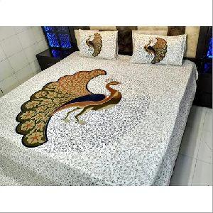 Jaipuri Peacock Print Bedsheet