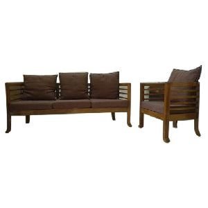 4 Seater Cushion Back Wooden Sofa Set