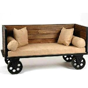 Iron Wheel Wooden Sofa Set