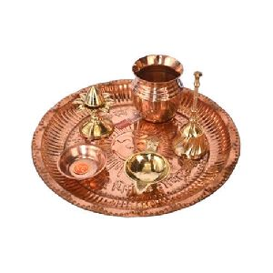 Copper Pooja Thali Set