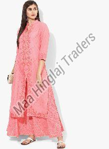 Placement Print Kurti Palazzo Set