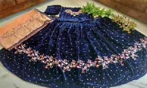 Blue Taffeta Silk Lehnga