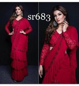 Silk Ruffle Saree