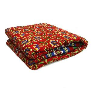 Red Block Printed Baby Quilts