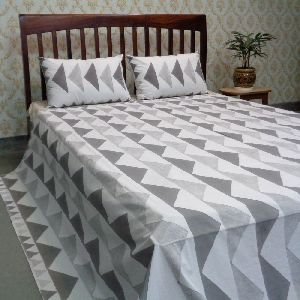 Cotton Block Printed Percale King Size Bedspread