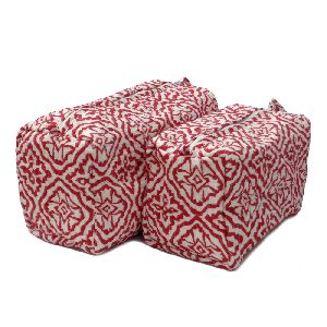 Design Chokri Red Quilted Cosmetic Bag