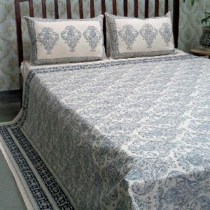 Off White Dyed and Block Printed Queen Size Bedspread