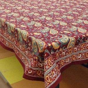 Paisley Maroon Tablecloth in Cotton