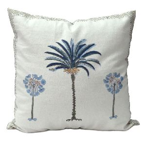 palm tree blue Hand Block Printed Cotton Duck Fabric Cushion Cover
