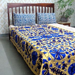 Suzani Twin Size Bedspread Hand Crafted