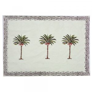 Three Palm Green Border Tablemat Hand Block Printed on Cotton Canvas