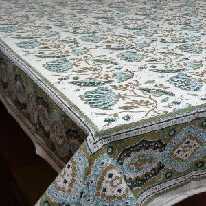 Waterlily Jade Olive Hand Block Printed Tablecloth