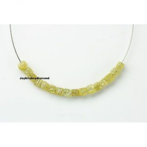 Natural Fancy Yellow Cube Rough Diamond Beads for Necklace