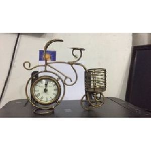 Bicycle With Clock & Pen Stand