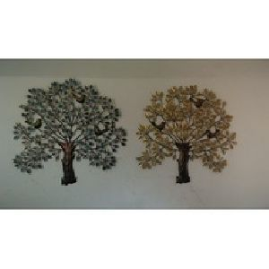 Multi colour Kalpvruksh Tree with three Bird