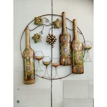 Wine Bottle And Glass Wall Hanging