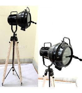 Vintage Industrial Spotlight On Wooden Tripod Floor Lamp