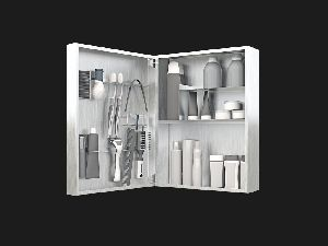 Men's Small Mirror Bathroom Cabinet and Organizer
