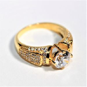 925 SILVER GOLD PLATED AD RING