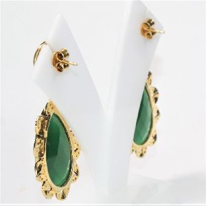 925 SILVER GOLD PLATED BLACK HANDMADE EARRING