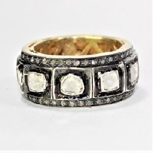DIAMOND POLKI HANDMADE GOLD PLATED 925 SILVER RING BAND