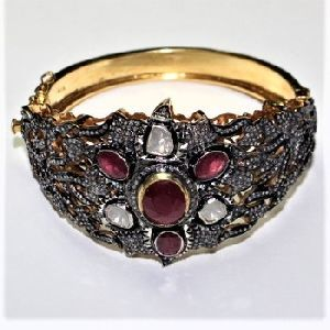 HANDMADE DIAMOND POLKI RUBY 925 SILVER GOLD PLATED BANGLE