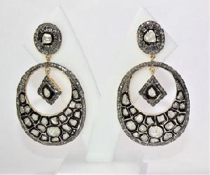 OVAL HANDMADE DIAMOND POLKI ANTIQUE VICTORIAN GOLD PLATED EARRING