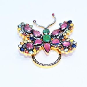 ruby malty sapphire diamond 925 silver handmade gold plated brooches pendant ring