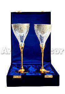 Royal Silver Brass Wine Glasses