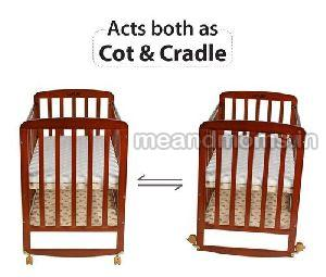 Wooden Baby Cot with Wheel 04