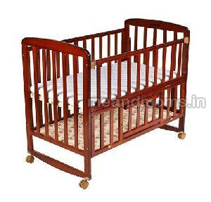 Wooden Baby Cot with Wheel